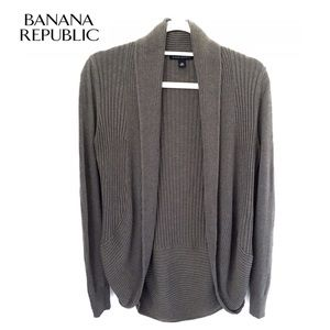 Banana Republic Gray Ribbed Cocoon Cardigan, XS